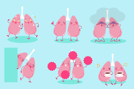 cute cartoon lung on the blue background