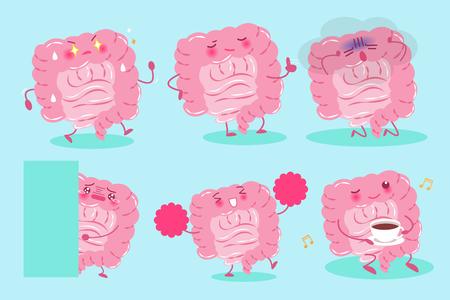 digestive: cute cartoon intestine on the green background Illustration