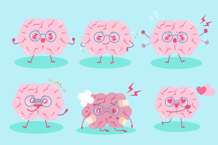 Cute cartoon brain on the blue background Illustration