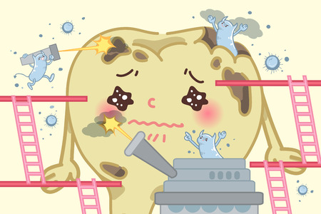 cartoon tooth decay feel unhappy and pain Illustration