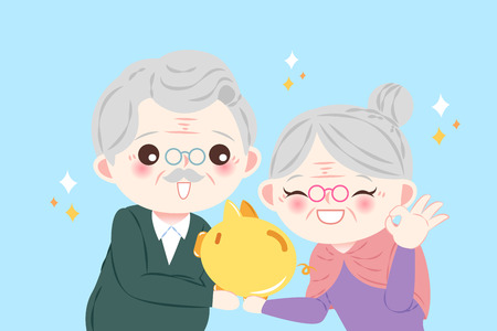cute cartoon old couple take piggy bank on the blue background