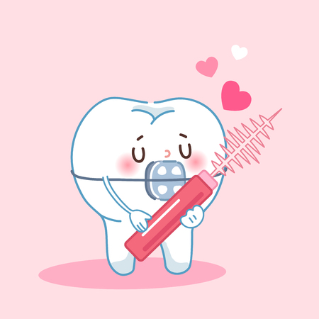 cute cartoon love teeth wear brace and interdental brushes with pink background Illustration