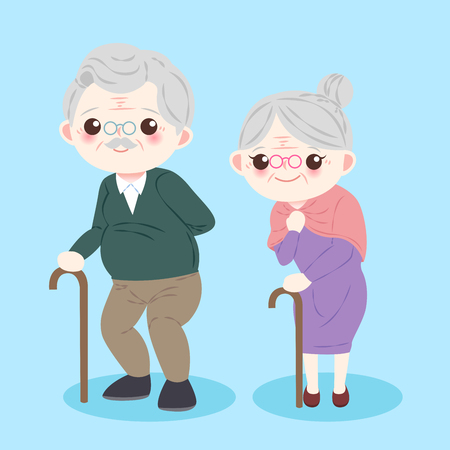 cute cartoon old couple on the blue background