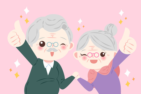 cute cartoon old couple show thumb up on the pink background