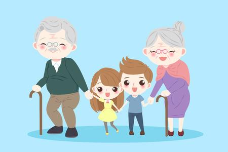 Família feliz dos desenhos animados sobre o fundo azul Foto de archivo - 82005216