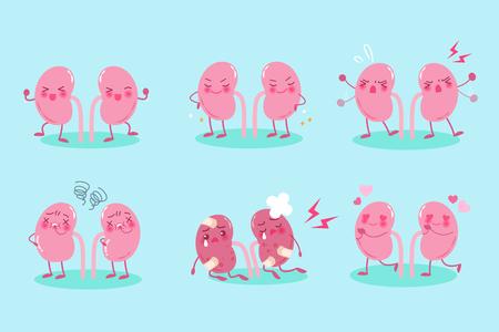 cute cartoon kidney on the blue background
