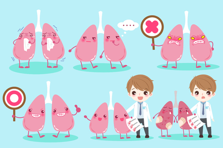 cartoon doctor with lung on the blue background Illustration