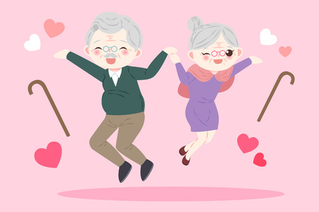 cute cartoon old couple on the pink background