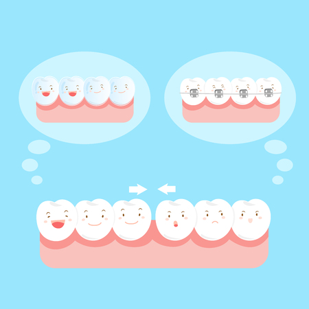 cute cartoon tooth wear different brace on blue background