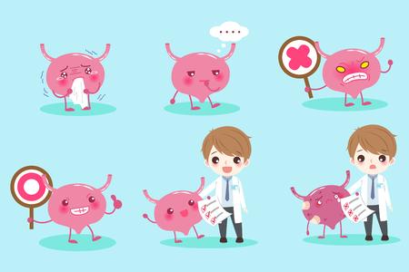 uretra: Médico de dibujos animados con la vejiga en el fondo verde Vectores