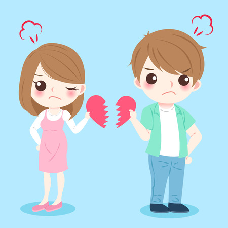 Cartoon couple quarrel Illustration