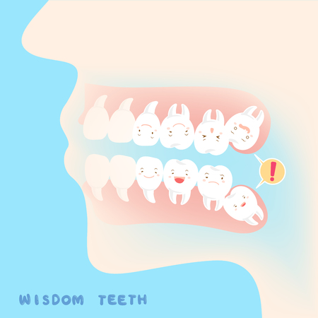 Cute cartoon wisdom teeth with health concept Фото со стока - 82349906