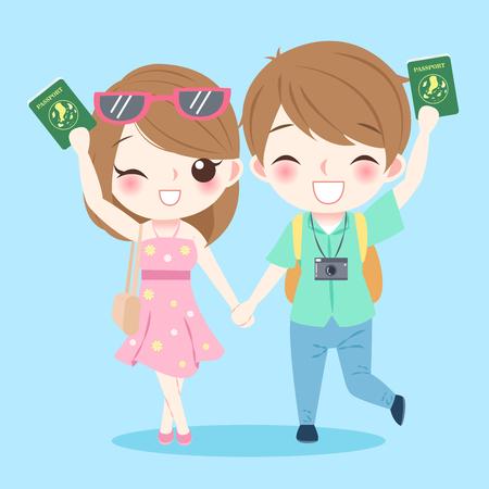 Cartoon couple go to travel and take passport