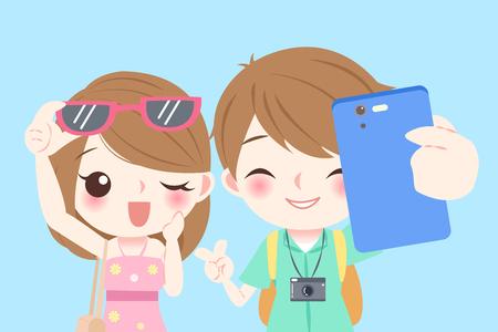 Cartoon couple selfie happily Иллюстрация