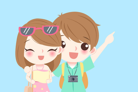introduce: Young couple go to travel and smile happily Illustration