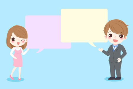 Couple with speech bubble Illustration