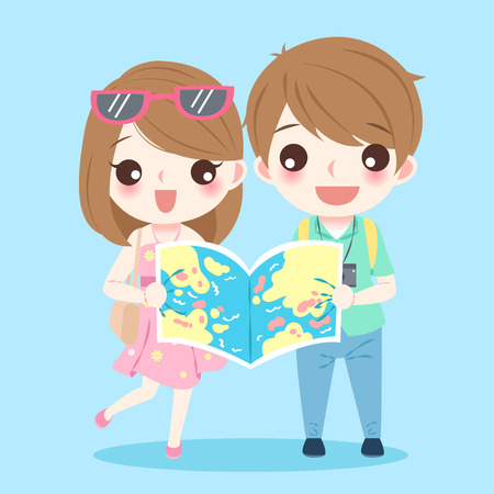 Cartoon couple go to travel and take map