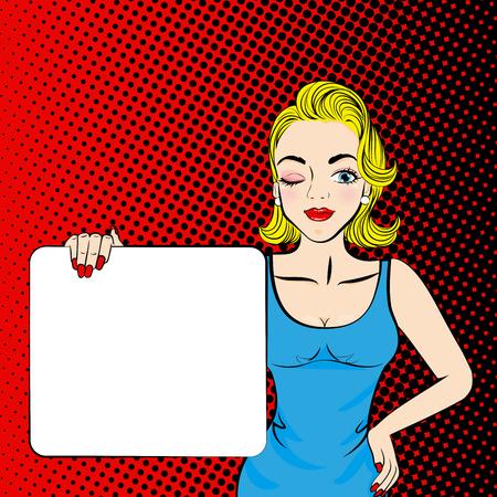 Pop van cartoon vrouw neemt billboard op rode rug