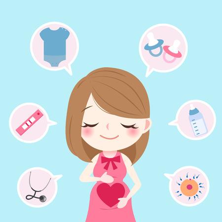Desenhos animados de beleza grávida no fundo azul Foto de archivo - 82930341