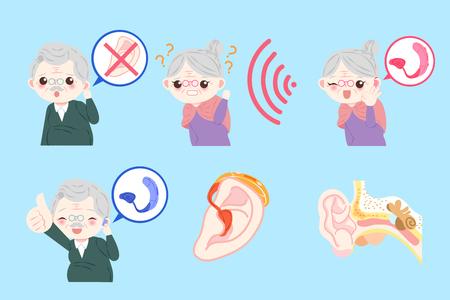 personas de edad con problemas de oído en el fondo azul