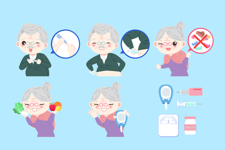 old peopel with diabetes on the blue background Illustration