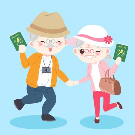 漫画の背景を青色の老夫婦