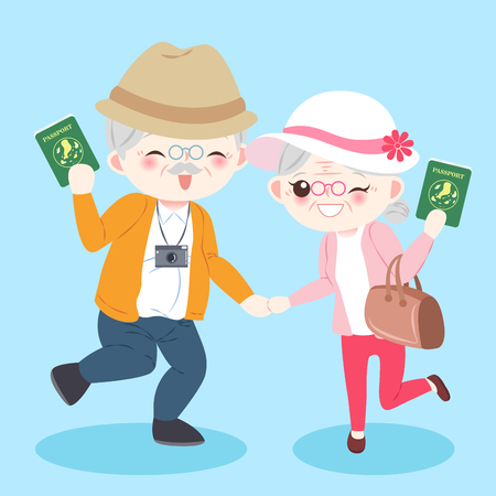 cartoon old couple on the blue background Illustration