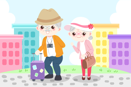 cartoon old couple go to travel happily