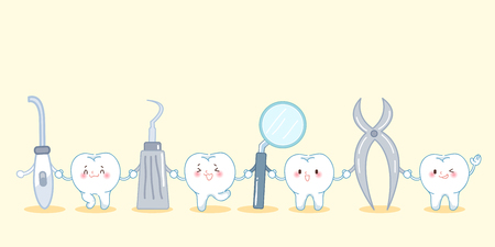 root canal: cute cartoon tooth smile happily with tool