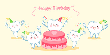 cute cartoon tooth feel happily with happy birthday Illustration