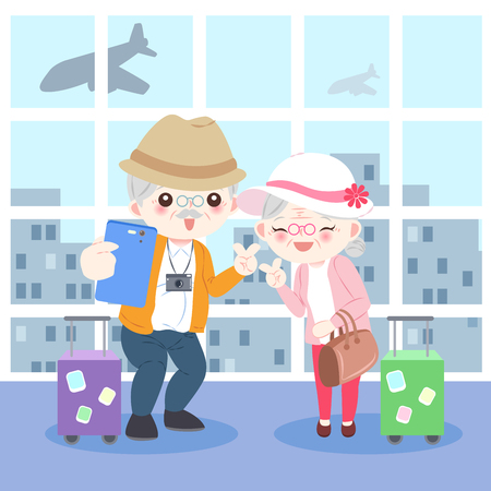 cartoon old couple go to travel happily in the airport