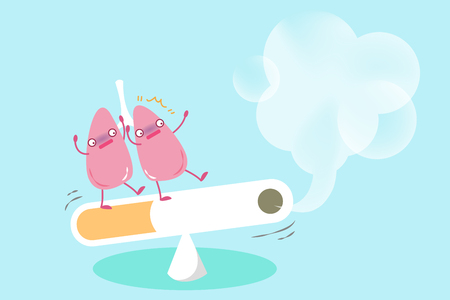 cute cartoon lung with health problem concept