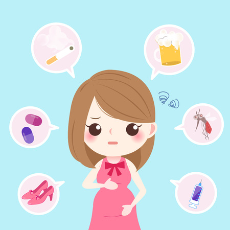 cute cartoon pregnant with health concept on the blue background