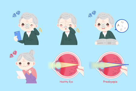 old people with eye health concept on the blue background Illustration