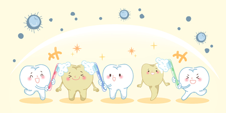 cartoon tooth holding a toothbrush and smile happily Illustration