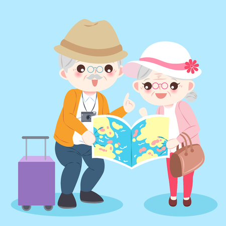 cartoon old couple on the blue background Ilustração