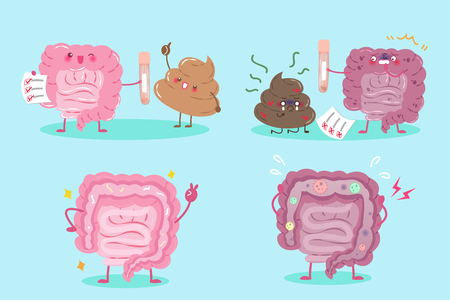 duodenum: cute cartoon healthy and unhealthy intestine with shit on green background