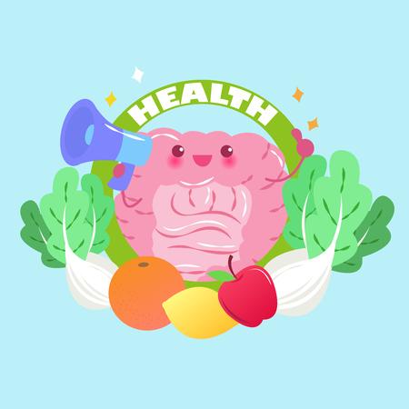 cute cartoon intestine take microphone with health concept