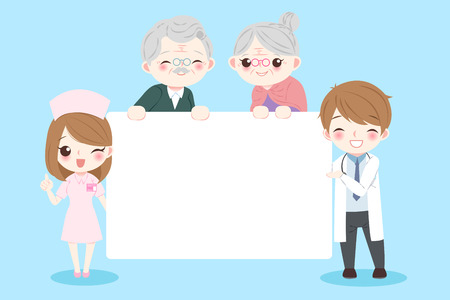 doctor with old couple on the blue background