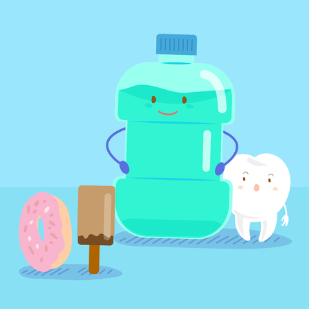 cute cartoon tooth with mouthwash on blue background