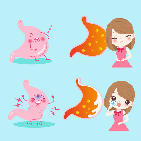 woman with heartburn on the blue background Illustration
