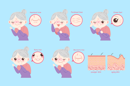 vecchia donna con concetto di pelle sullo sfondo blu Vettoriali