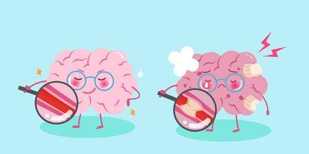 Cerveau de dessin animé mignon avec un concept sain sur fond bleu Vecteurs