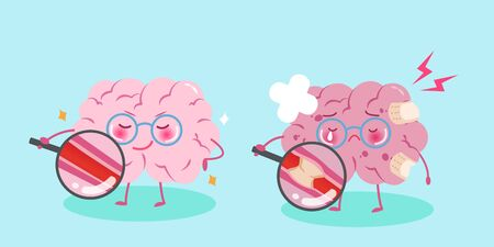 Cute cartoon brain with healthy concept on blue background Illustration