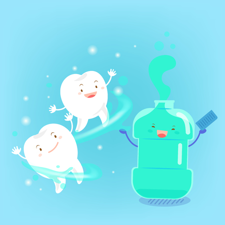 Cute cartoon tooth with mouthwash on blue background 向量圖像