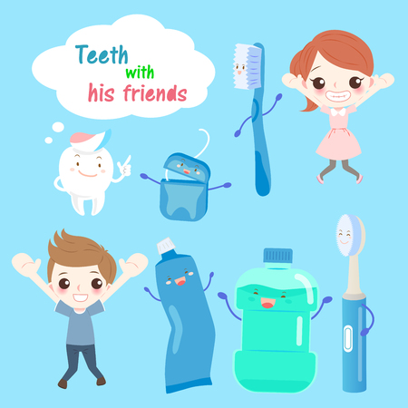 Cartoon tooth with his friends on the blue background Illustration