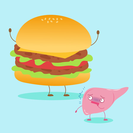 Cute cartoon liver with health concept on the blue background