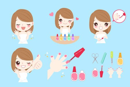 Cartoon woman with nail beauty on blue background Ilustração