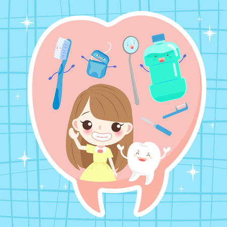 Girl with tooth health concept on the blue background Çizim