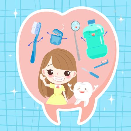Mädchen mit Zahn Gesundheit Konzept auf dem blauen Hintergrund Standard-Bild - 83345314